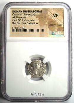Roman Octave Augustus Ar Denarius Silver Coin 41 Bc Certifié Ngc Vf