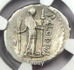 Roman P. Clodius M. F. Turrinus Ar Denarius Coin 42 Bc Certifié Ngc Choice Vf