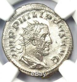 Roman Philip I Ar Double Coin Denier (244-249 Ad) Certifié Ngc Au