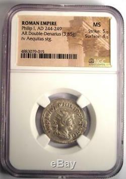 Roman Philip I Ar Double Coin Denier 244-249 Ad Certifié Ngc Ms Condition