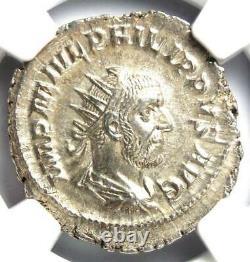 Roman Philip I Ar Double Coin Denier 244-249 Ad Certifié Ngc Ms (unc)