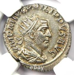 Roman Philip I Ar Double Denarius Pièce 244-249 Ad Certifié Ngc Ms (unc)