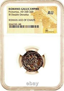 Roman Postumus Antoninianus Bronze Double Denarius Coin Ngc Certifié Au & Histoire
