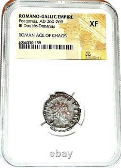 Roman Postumus Antoninianus Bronze Double Denarius Coin Ngc Certifié Xf & Story