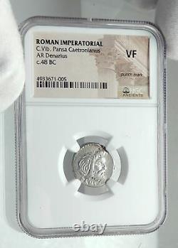 Roman Republic 48bc Rome Authentic Ancient Silver Coin Pan Jupiter Ngc I78537