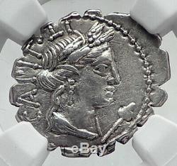 Roman République 81bc Ceres & Bulls Labourage Antique Argent Romaine Monnaie Ngc I80906