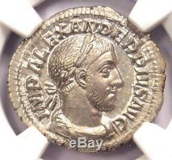 Roman Severus Alexander Ar Denarius Coin 222-235 Ad Ngc Choix Condition Ua
