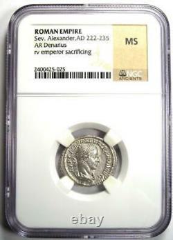 Roman Severus Alexander Ar Denarius Coin 222-235 Ad Ngc Ms (unc) Condition