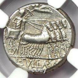 Roman Sulla L. Man Torquatus Ar Denarius Coin 82 Av. J.-c. Certifié Ngc Choice Vf