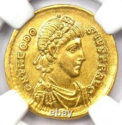 Roman Theodosius I Av Solidus Gold Coin 379-395 Ad Certifié Ngc Choice Au