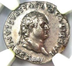 Roman Titus Ar Denarius Coin 79-81 Ad Certifié Ngc Choix Xf Condition