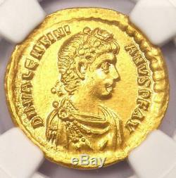 Roman Valentinien II Av Solidus Gold Coin 375-392 Ad Certifié Ngc Au