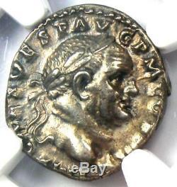 Roman Vespasien Ar Denarius Argent Monnaie 69-79 Certifié Ngc Ua Condition