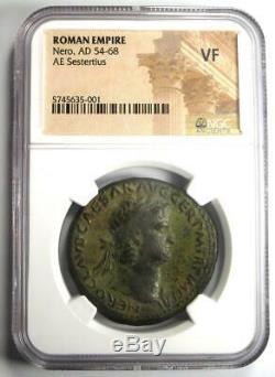 Rome Antique Nero Ae Sestertius Coin 54-68 Ad Certifié Ngc Vf Rare Coin