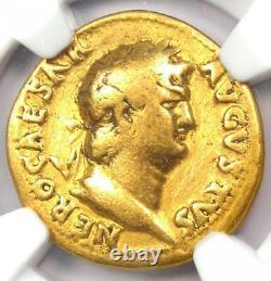 Rome Antique Nero Av Aureus Gold Coin 54-68 Ad Certifié Ngc Fin Rare