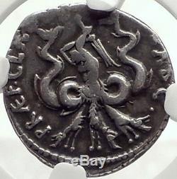Sextus Pompey Fils De La Grande Authentique Pièce De Monnaie Romaine Sicile Argentée Antique Ngc