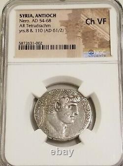 Syrie, Antioch Nero Tetradrachm Ngc Choice Vf Ancient Silver Coin Roman