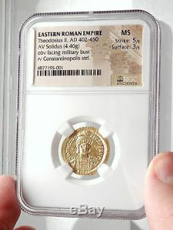 Théodose II Authentique 430ad Ancien Or Roman Solidus Monnaie Ngc Ms I75080