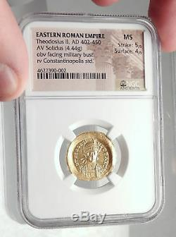 Théodose II Authentique Ancien 441ad Or Solidus Romaine Monnaie Ngc Ms I72397