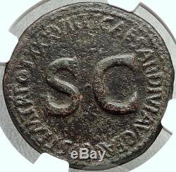 Tiberius Authentique Ancien 35ad Rome Pièce De Monnaie Romaine Sestertius Avec Quadriga Ngc I67867
