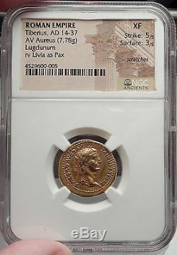 Tiberius Authentique Pièce Antique Aurée Romaine Or 15ad Gold Livia Ngc Certifiée Xf