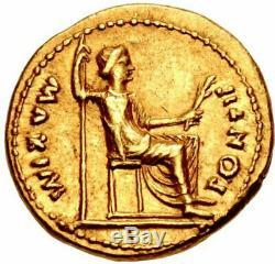 Tiberius Authentique Temps Antique De Jesus 15ad Biblical Gold Pièce De Monnaie Aureus Romains Ngc