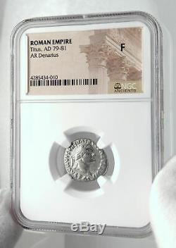 Titus Authentique Ancien 79ad Argent Monnaie Romaine Judaea Capta Captive Ngc I80130