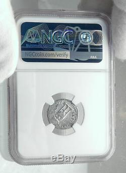 Titus Authentique Ancien 80ad Argent Véritable Roman Coin Trépied Dolphin Ngc I81401