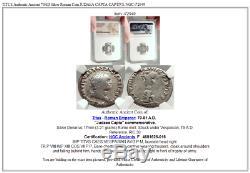 Titus Authentique Pièce Antique Romaine En Argent 79ad Judaea Capta Captive Ngc I72949