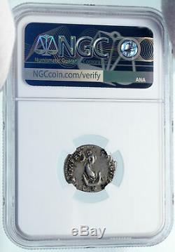 Titus Romain Silver Coin Pompéi Ou Colisée 80ad Rome Dolphin Ancre Ngc I84993