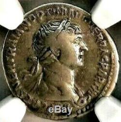 Trajan 98-117. Magnifique Denier. Rare Et Romaine Ancienne Pièce De Monnaie, Ngc Ch F
