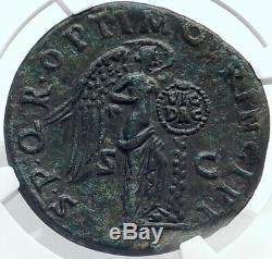 Trajan Authentique Ancien 106ad Sestertius Coin Roman Dacia Victoire Ngc I81774