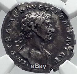 Trajan Authentique Ancien 111ad Coin Dacia Capta Silver Roman Victoire Ngc I81826