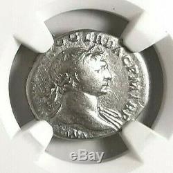 Trajan Frappé 107 Ad. Superbe Denier Luster Ancienne Pièce De Monnaie Romaine. Ngc En Argent Fin