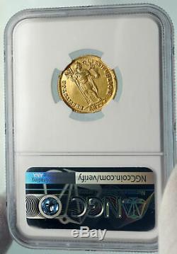 Valens W Christian Chrisme Ancient 366ad Roman Gold Solidus Monnaie Ngc I84774