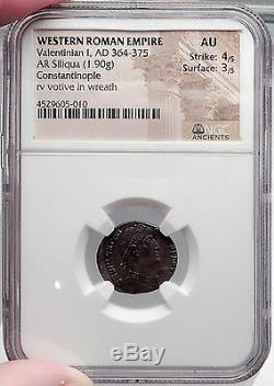 Valentinien I 364ad Authentique Silver Romaine Antique Siliqua Monnaie Ngc Certifié Au