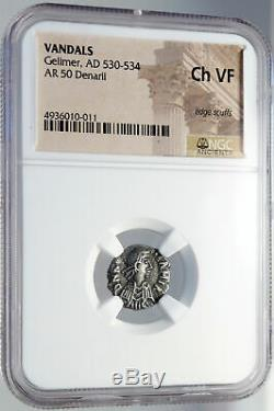 Vandalisme Roi Gélimer Argent Antique 530ad Carthage Style Romain Ngc Coin I82630