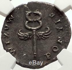 Vespasien 74ad Rome Authentique Antique Argent Monnaie Romaine Argent Dieu Ngc Xf I67617