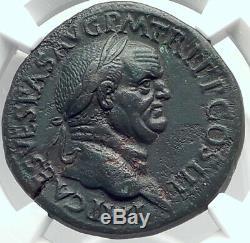Vespasien Authentique Ancient Rome 71ad Sestertius Romaine Coin Mars Ngc I82360
