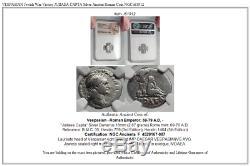 Vespasienne Victoire À La Guerre Des Juifs Judaea Capta Argent Romain Antique Pièce De Monnaie Ngc I61912