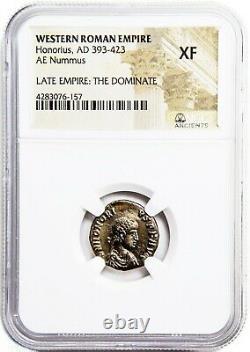 Western Roman Empereur Honorius Coin Ngc Certifié Xf, Avec Histoire, Certificat