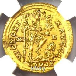Western Roman Honorius Av Solidus Gold Coin 393-423 Ad Certifié Ngc Choice Au
