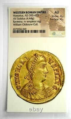 Western Roman Honorius Av Solidus Gold Coin 393-423 Ad Ngc Au (certificat)