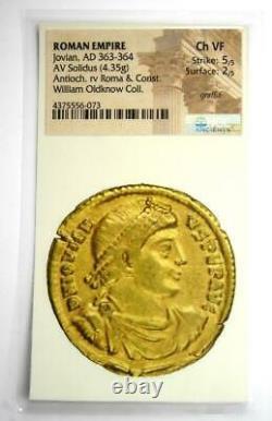 Western Roman Jovian Av Solidus Gold Coin 363-64 Ad. Ngc Choice Vf (certificat)